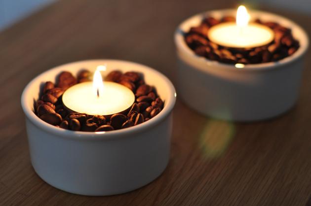 Свічки з кавовими зернами